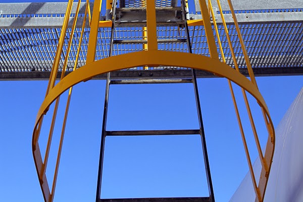 Caged Ladder Painted Safety Yellow