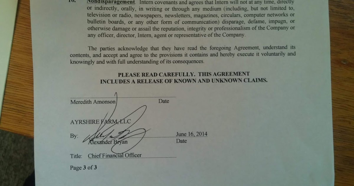 Meredith Et Al Non Disparagement Clause Of A Severance Agreement