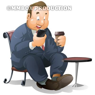カフェでスマホを持つ太ったビジネスマン