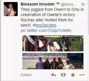 Photos show group of people who trekked from orlu to Owerri to show solidarity to Rochas on his victory