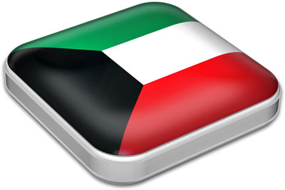 Flag of Kuwait with metallic square frame