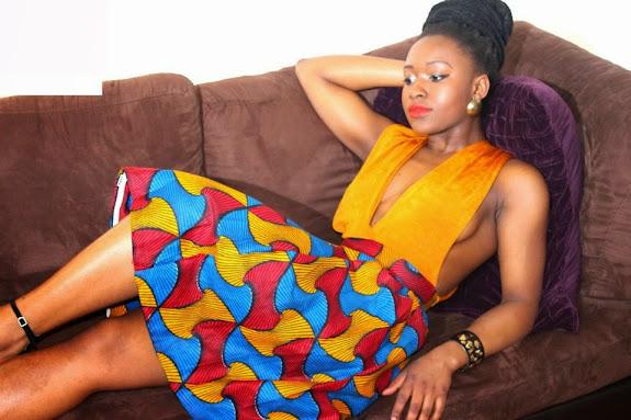 ankara styles, yellow gown