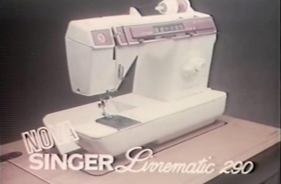Campanha publicitária do começo dos anos 80 da máquina de costura Singer