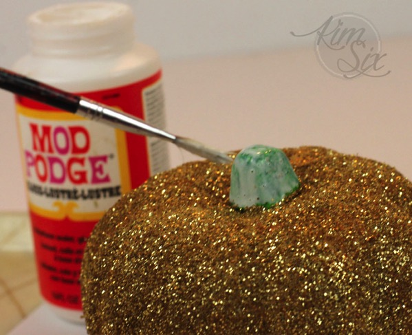 Mod podge glittered pumpkin