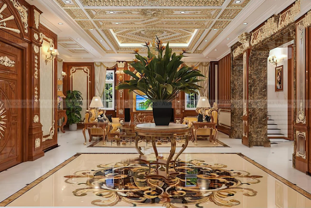 Mẫu kiến trúc biệt thự cổ điển 3 tầng đẹp lộng lẫy theo phong cách Pháp