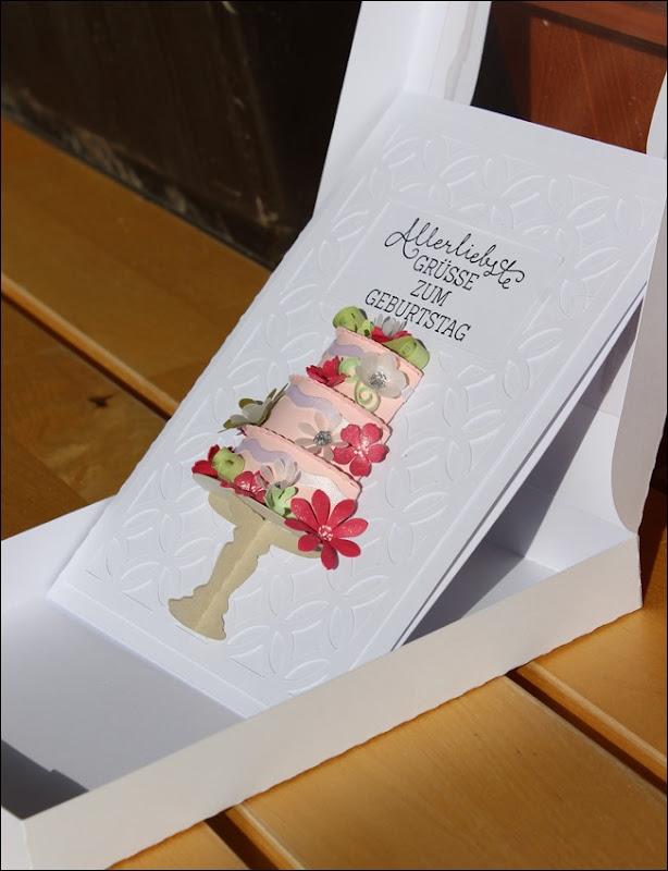 3D Cake Torte Hochzeit Geburtstag Wedding Birthday Quilling Flowers Card Karte 5