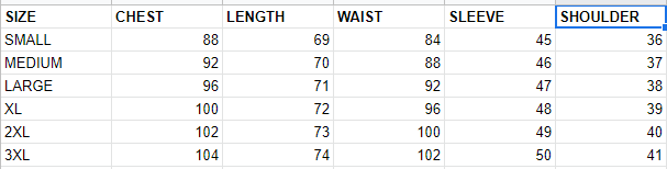 SIZE CHART FOR TUNIC/TOP - Google Sheets