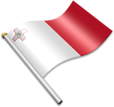 The Maltese flag on a flagpole clipart image