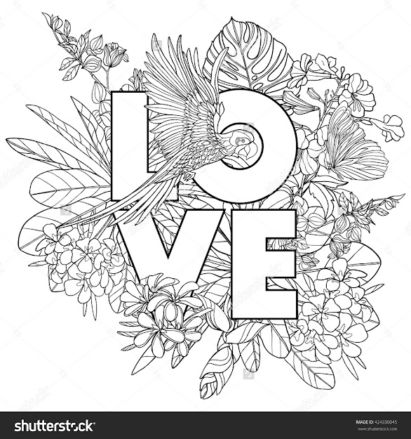 Adult Coloring Book Coloring Page With Word Love And Tropical Birds And  Plants