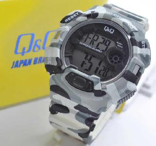 jam tangan Q&Q M132J006Y Grey doreng rubber