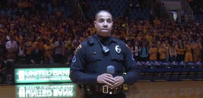 Cop gives heart-felt impromptu rendition of 'Star Spangled Banner'