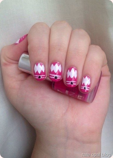 Pink Power Ranger Nail Art using 17 Ultimate Shine in Miami and Barry M Nail Art Pen in White