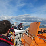 Is this a Swanage crew member we see onboard the 18.3m motorcruiser with engine failure? 6 October 2013 Photo: RNLI Poole/Anne Millman