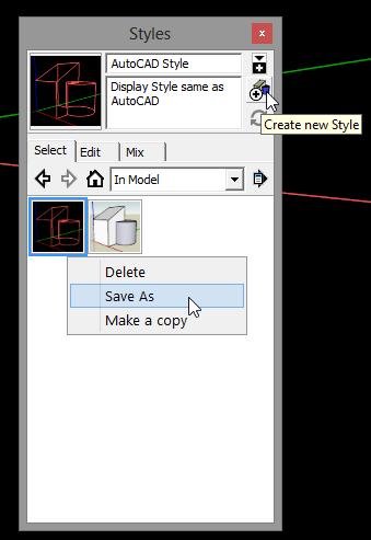 SketchUp - กำหนดการแสดงผลของ SketchUp ให้เหมือนกับการทำงานบน AutoCAD Sutocad07