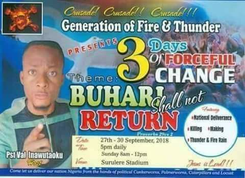 "Checkout hilarious church poster ""Buhari Shall not return"""