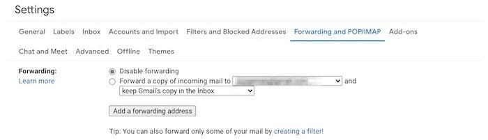 نصائح أمان حساب Gmail إعادة التوجيه