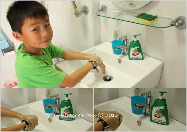 Monkey boy washing his hands