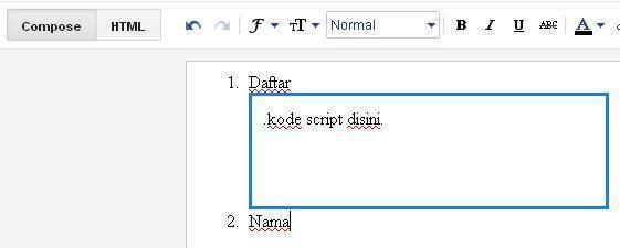 membuat kotak script di blog