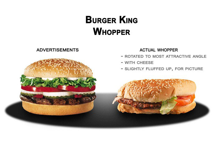 Burger King Whopper in advertisements and in reality.