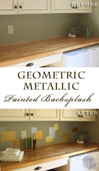 Geometric Metallic Stenciled Backsplash