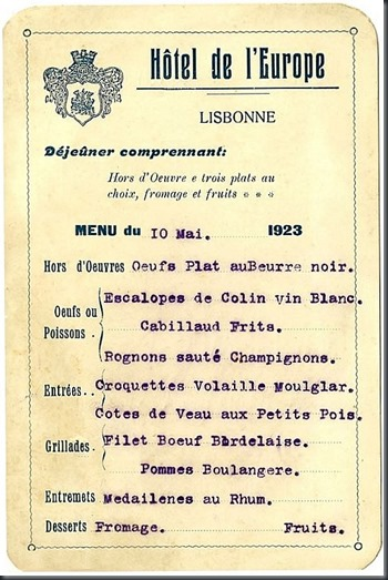 1923 Menú