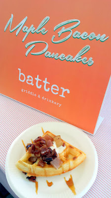Portland Monthly Country Brunch 2016 Brunch Bite of Maple Bacon Pancakes (hey that's what the sign said even though it's clearly a waffle) from Batter Griddle & Drinkery