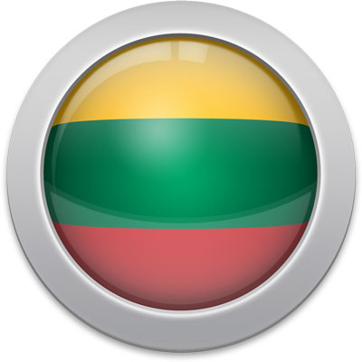 Lithuanian flag icon with a silver frame
