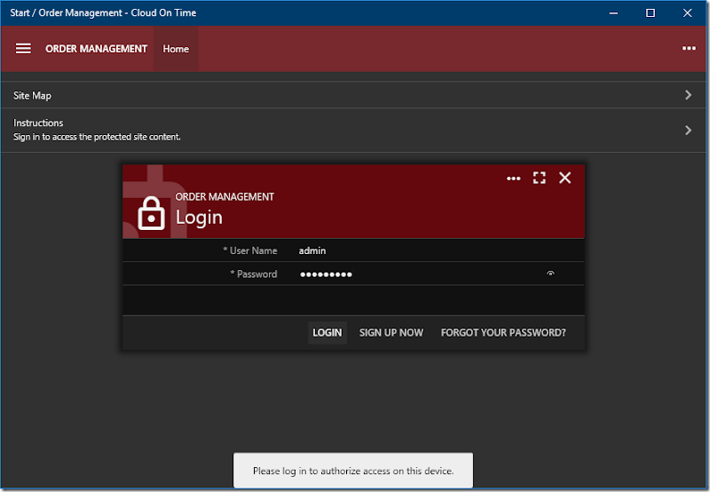 Logging in to add Order Management cloud to native Universal Windows Platform app Cloud On Time.