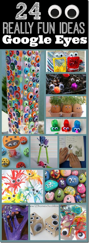 24 Really Fun Ideas with Googly Eyes - Great kids activities for kids of all ages including googly eyes vase, googly eyes reading stick, googly eye ladybug lids, and so many more really creative ideas!