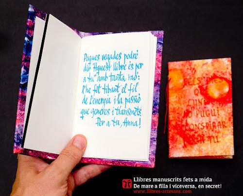 Llibres fets a mida, dedicatòria de l'autor.