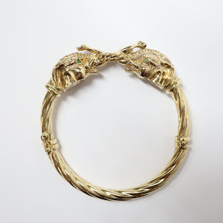 14K Gold Elephant Bangle