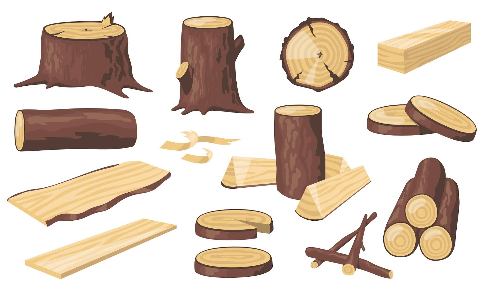 Various Wood Logs Trunks Free Download Vector CDR, AI, EPS and PNG Formats