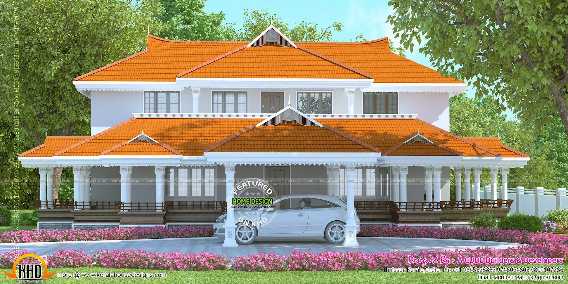 4 bedroom luxury villa plan kerala home design and floor for Kerala style villa plans