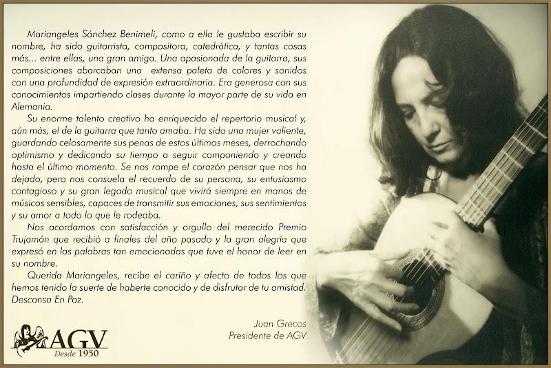 Adiós a Mariangeles Sánchez Benimeli