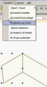 ElementsCAD Menüpunkt 3D-Rahmen aus Kontur