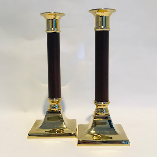 Brass and Mahogany Candlestick Pair