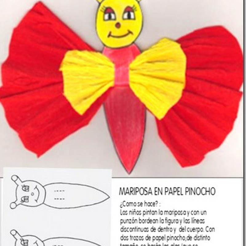 Manualidades mariposa de papel pinocho - crepé