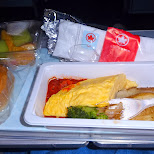 dinner on AirCanada flight from Tokyo in Vancouver, British Columbia, Canada