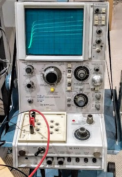 We used a vintage HP transistor curve tracer to test the transistors.