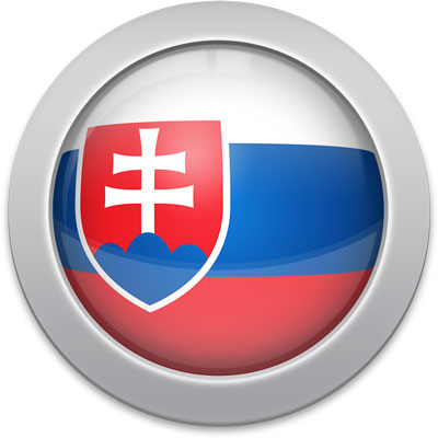 Slovak flag icon with a silver frame