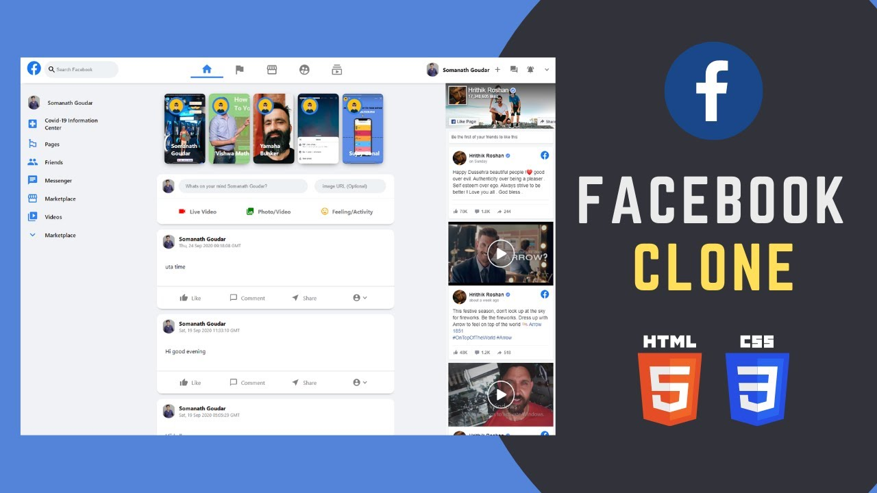 How to Build Responsive Facebook Clone using HTML and CSS | Tutorial