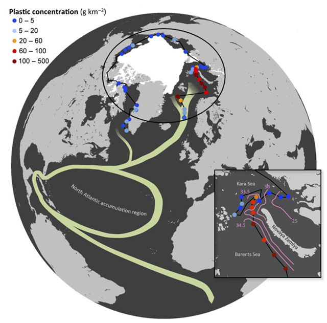 Locations and plastic concentrations of the sites sampled. The summer extension of the polar ice cap in August 2013 is shown in white area, and the classical schematic drawing of the North Atlantic Subtropical Ocean Gyres and the Global Thermohaline Circulation poleward branch is indicated by green curves. The northern passage from Barents Sea to Kara Sea is zoomed in, with contour lines describing salinity measured at a depth of 5m. Graphic: Andres Cozar