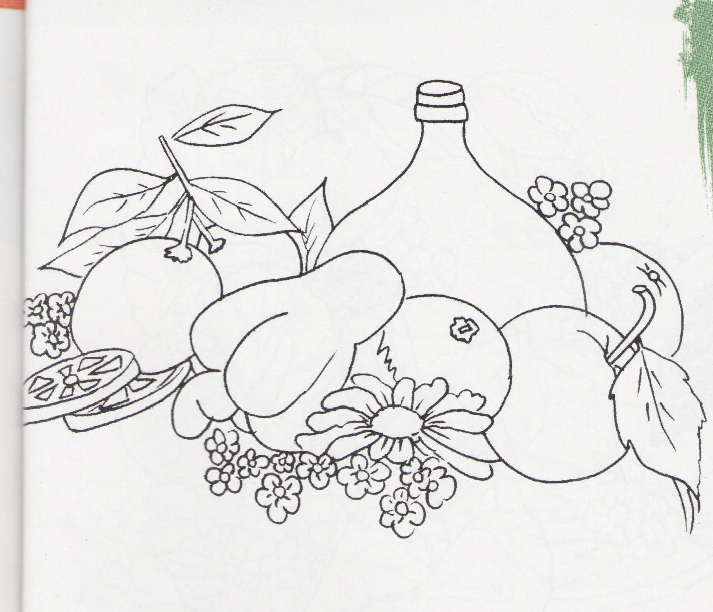 "risco para pintar em panos de copa, frutas e garrafa"""