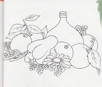 """risco para pintar em panos de copa, frutas e garrafa"""