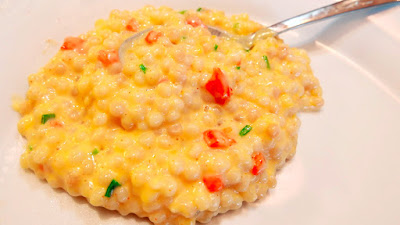 Israeli Couscous and Cheese Recipe - enjoy this ballsy (ha ha) vegetarian take on mac and cheese and risotto