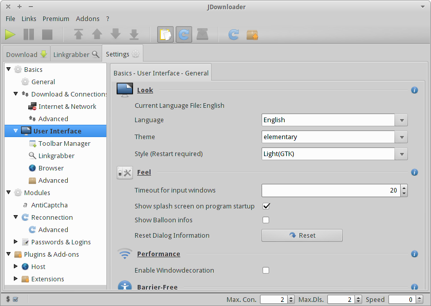 Xubuntu Geek: Elementary Icon Theme for JDownloader