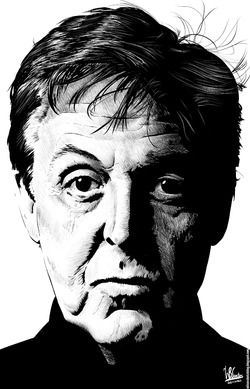 Ink drawing of Paul McCartney, using Krita 2.4.