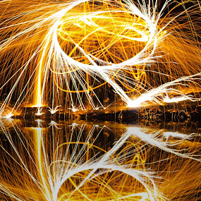 Spark Echos by Scott Valenzuela - Novices Only Abstract ( abstract, reflection, night photography, long exposure, sparks )