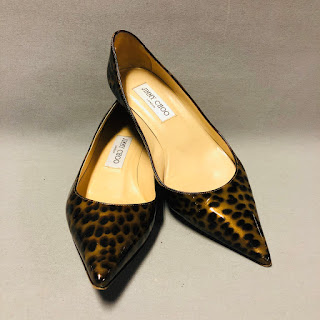 Jimmy Choo Patent Leather Animal Print Kitten Heels