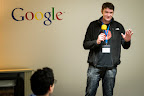 Christian Horchert (aka fukami), an activist of the German hacker organisation Chaos Computer Club (CCC) speaks to the hackers during EUhackathon 2014 at Googleplex in Brussels, Belgium on 02.12.2014